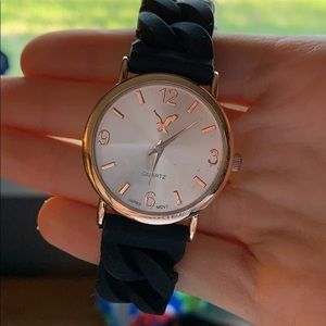 American Eagle One Size Rose Gold Black Watch